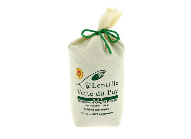 Lentilles verte du Puy AOP 1KG sac en toile