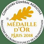 Médaille d'Or au Concours Général Agricole de PARIS 2018
